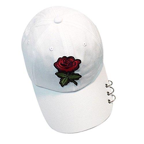 TONSEE Rose Sonnenhüte, Einstellbare Unisex Frauen Baseball Cap Snapback Hip Hop Flachen Hut with Rings (Weiß)