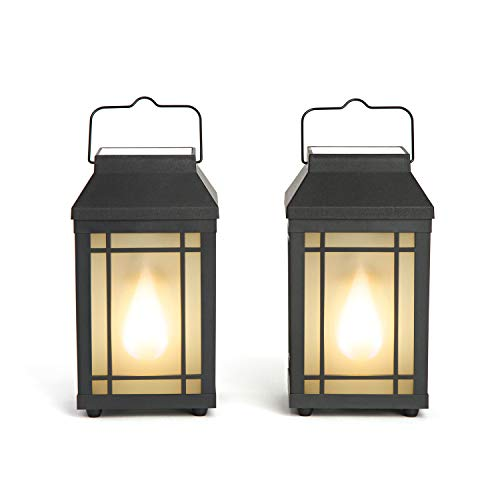 Outdoor Solar Lanterns with Flickering Flame - Set of 2 Solar-Powered Pathway Lights, Realistic Torch Fire Effect, Waterproof, Battery Powered, 8 Inch Tall, Decorative Patio / Table Top Lighting