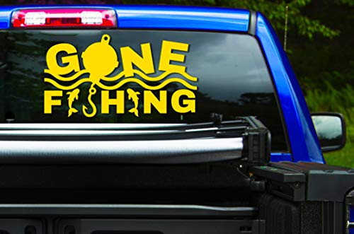 Gone Fishing Travel Adventure Sticker Decal Vinyl Sign Custom Sizes Metallic Bronze Gold Silver Chrome Sparkle Glitter (Vinyl)