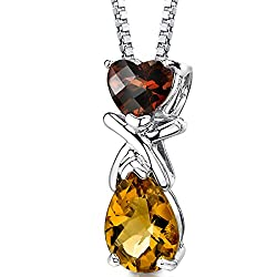Garnet and Citrine Pendant Necklace Sterling Silver 2.50 Carats