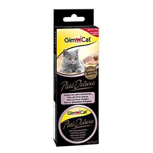 GimCat Pâté Deluxe - Glutenfreier Katzensnack mit Fleisch und ohne Zuckerzusatz - 8 Packungen (24 Portionen)