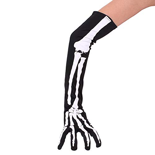 kanggest 1 Paar Halloween Lange Arm Skelett Handschuhe Skeletthandschuhe Handschuhe für Halloween Kostüm Cosplay Party