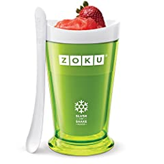 FROZEN TREATS IN AS LITTLE AS 7 MINUTES: The Zoku Slush & Shake Maker can make refreshing slushies, milkshakes, frozen alcoholic drinks and healthy fruit smoothies in as little 7 minutes right on your countertop COMPACT AND CONVENIENT: Make, serve, a...