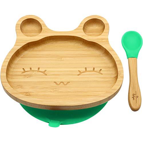 RAHYAS Bamboo Baby Bunny Suction Plate, Stay Put Suction Plates for Toddlers, Baby Plates with Cute Bunny, Natural Bamboo-Green