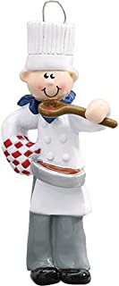 Personalized Chef Christmas Tree Ornament 2019 - Chief Male Cooker White Taste Pan Best Restaurant New Man Dad Cuisine Profession Job Year - Free Customization (Boy)