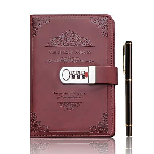 XIYUNTE A5 Blocs y cuadernos de notas con Bloqueo de contraseña, 210x148mm Vendimia Cuaderno del diario finos Organizadores personales, Pluma del metal del regalo, (100 hojas/200página)