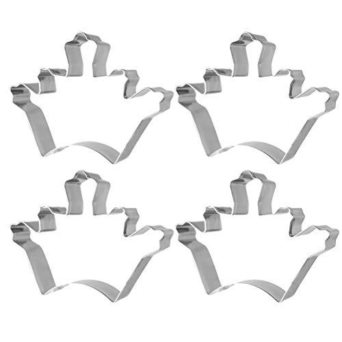 Yardwe Moldes para hornear de acero inoxidable, 4 piezas, forma de corona, cortadores de frutas, moldes para hornear, fuente de horneado, para cocina, panadería (plata)