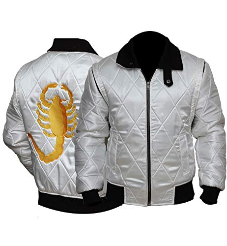 Drive Scorpion Bomber Quilted Style Jacket Inspiration Ryan Gosling Celebrity Shell (Large) White