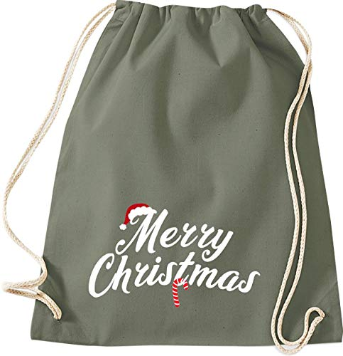 Shirtinstyle Bolso para Deporte, Navidad & Silverster Merry Christmas Bastón Gorro de Navidad, Gimnasio Saco Bolso Bolsa - Oliva
