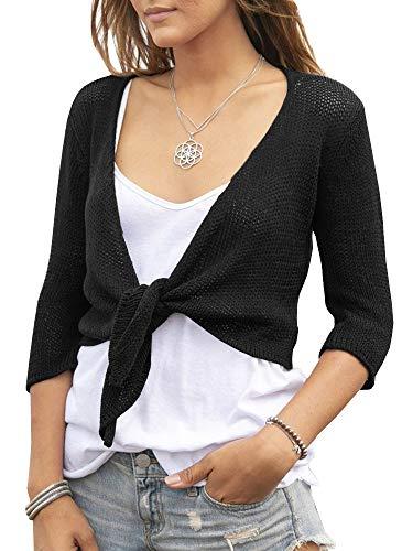 YeMgSiP Women's Tie Front Shrug 3/4 Sleeve Bolero Sheer Knotted Lightweight Cardigan Sweaters Short Shawl Tops Black