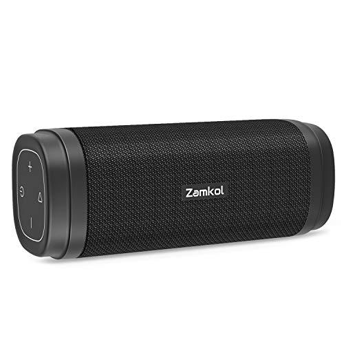 Zamkol Cassa Altoparlante Bluetooth Speaker Portatile Con Suono Stereo, Bassi Potenti AUX & EQ & TWS, Impermeabile IPX6, Bluetooth 5.0, Per Smartphone, Computer, Viaggio