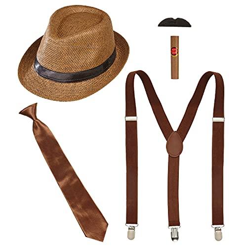 WIDMANN 68557 - Juego de disfraz de los años 20, 5 piezas, gorro, tirantes y bigote, corbata y puro, Charleston, Gangster, Mafia bos, accesorios, carnaval, fiesta temática