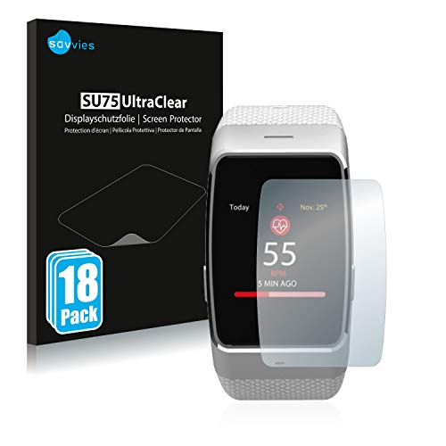 Savvies 18x Schutzfolie kompatibel mit MyKronoz ZeWatch 4 HR Bildschirmschutz-Folie Ultra-transparent