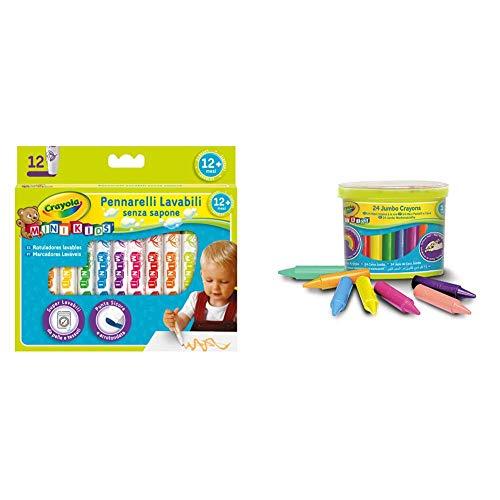 Crayola Mini Kids Pennarelli Super Lavabili A Punta Tonda, Per Asilo E Tempo Libero, 12 Colori & Mini Kids Maxi Pastelli A Cera A Forma Tonda, Età Dai 12 Mesi, Per L Asilo E Tempo Libero, 24 Colori