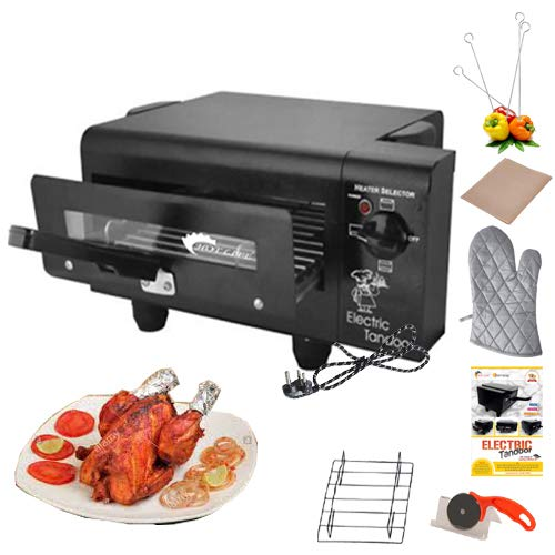 Hot Berg Upper & Lower/Regulator System 1500W Small Electric Tandoor Combo Hand Gloves, Grill Stand, Magic Cloth, Recipe Book, 4 Skewers, Pizza Cutter, 4 Shocked Proof Rubber Legs (Black)