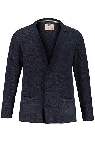 JP 1880 Herren große Größen bis 7XL, Strickblazer, Stonewashed mit Struktur, Knopfverschluss, 2 Taschen, Langarm, Blue Denim L 723411 92-L