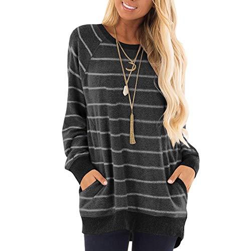 qiaoxiahe Streifen Sweatshirt Damen Pullover mit Tasche Streetwear Casual...