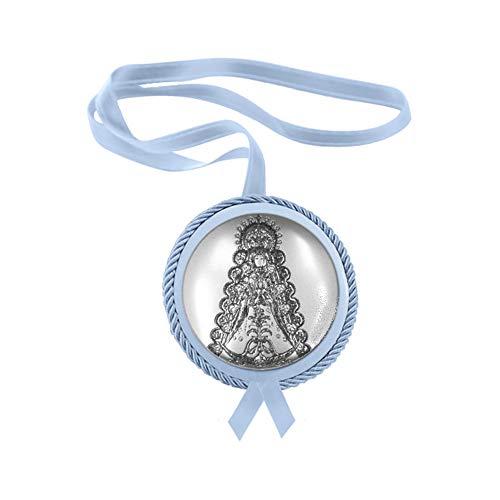 DOCOLASTRA Medalla de Cuna de Plata bilaminada De la Virgen del Rocio, Azul.-