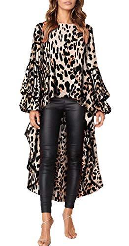 Dames bovenstuk lente herfst lange top mode vintage lange mouwen ronde hals blouse leuke chique elegante comfortabele luipaardprint blouse T-shirts