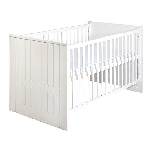 Roba Combi Lit 'Dreamworld 3', 70 x 140 cm, lit bébé fraisé blanc, 3 fois réglable en hauteur, lit pour bébé ou enfant transformable en lit junior.