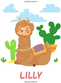 Lilly: Personalized llama Sketchbook & journal Gift, 100 Pages, 8,5''x11'', Soft Cover, Matte Finish llama sketchbook for ...