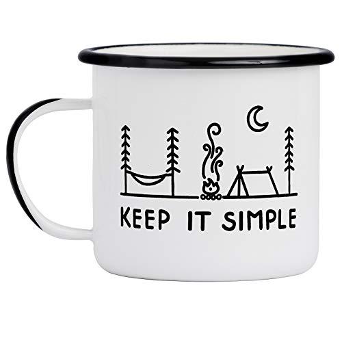 Camp Noggin | Keep It Simple | Emaille Camping Kaffeebecher (425 ml) | Große Größe | Perfekt für Kaffee, Tee, Bier, Wein, Haferflocken oder Suppe