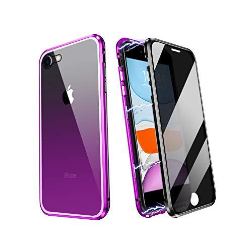 ZHIKE Funda para iPhone 7/8/SE 2020, Magnético Anti pío Privacidad Doble Cara Cobertura Pantalla Completa de Vidrio Templado Cubierta Color Degradado Diseño Antideslizante (Anti-Spy, Morado-Negro)