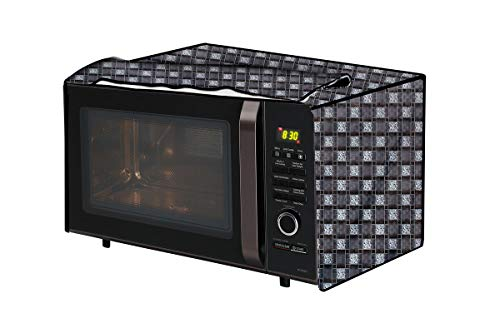 The Furnishing Tree Microwave Oven Cover for IFB 25 L Convection 25SC4 Basketweave Pattern Grey
