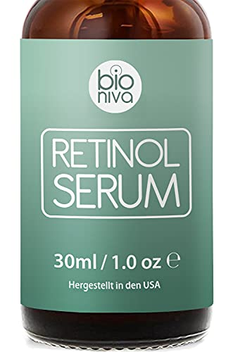 Bioniva Retinol Liposomen Liefersystem mit Vitamin C & Vegan Hyaluronsäure - Anti-Aging Lift Serum, Für Gesicht, Dekolleté und Körper