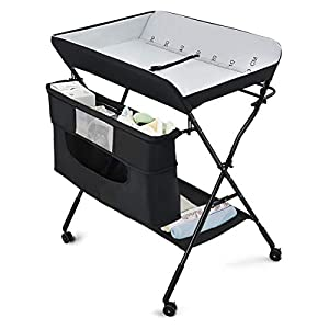 Costzon Baby Changing Table, Adjustable Height Portable Diaper Station w/Lockable Wheels, Safety Belt, Large Storage Rack & Bag, Folding Nursery Station for Infant Newborn (Black)
