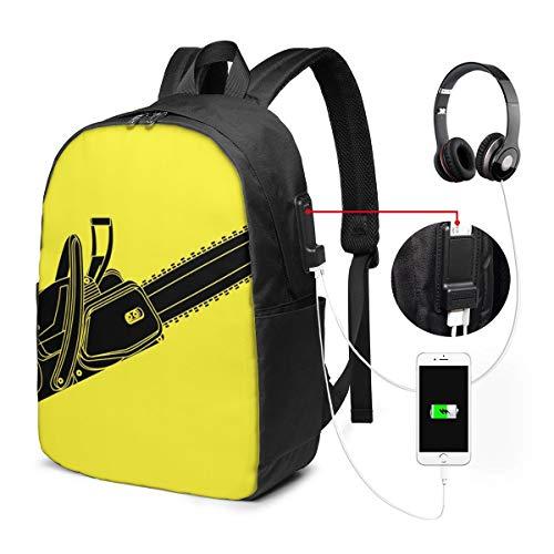 Laptop Rucksack Business Rucksack für 17 Zoll Laptop, Kettensägenkette Schulrucksack Mit USB Port für Arbeit Wandern Reisen Camping, für Herren Damen