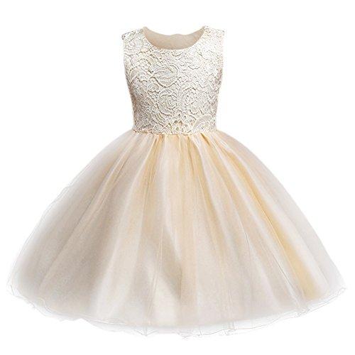 Kids Girls Lace Flower Dress Backless Bridesmaid Gown Wedding Formal Tutu Dress