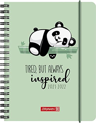 "BRUNNEN 1071855032 Schülerkalender 2021/2022 (18 Monate) ""Panda"" 2 Seiten = 1 Woche, Blattgröße 12 x 16 cm, A6, PP-Einband"