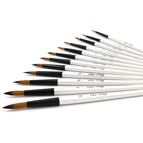 YOUSHARES 12 Pcs Art Paint Brush Set for Watercolor, Oil, Acrylic Paint/Craft, Nail, Face Painting