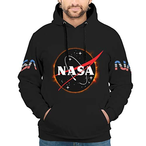 Ouniaodao Unisex NASA Solar Eclipse Sudadera Casual - Nasa Blusa Suelta Blanco M
