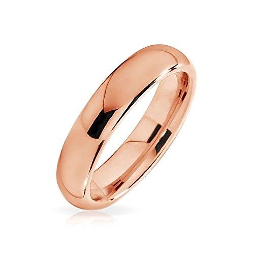 Bling Jewelry Cupola Sottile Coppie Fede Nuziale Rosa Lucido Placcato Oro Anello di Tungsteno Peri Uomini per Donne Comfort 4Mm