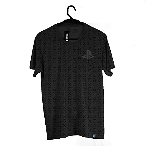 Camiseta Brand Botões Pattern, Playstation, Adulto Unissex, Cinza, 2G