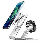 AICase Compatible con Cargador MagSafe Ap Watch Soporte de Aluminio,2 en 1 Magsafe Holder Magsafe Stand Soporte de Carga inalámbrica para iwatch iPhone 12/iPhone 12 Pro/iPhone 12 Pro MAX/12 Mini