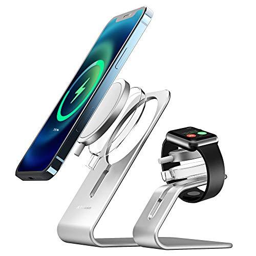AICase Supporto per caricabatterie MagSafe e Ap Watch,2 in 1 supporto per telefono da scrivania in alluminio,compatibile con ricarica magnetica MagSafe per iwatch iPhone 12/12 Pro Max/Mini