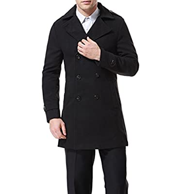 AOWOFS Men's Double Breasted Overcoat Pea Coat Classic Wool Blend Winter Coat Black by