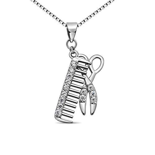 Halskette für Friseure Anhänger Schere Kamm Symbol Friseur 925 Silber ,feine Kosmetikerin und Stylistin Zirkonia Silberschmuck f #2259