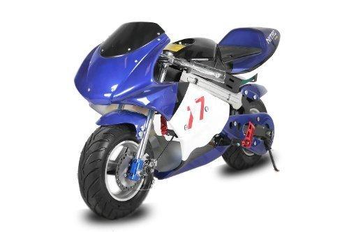 Nitro Motors Eco Pocketbike 1000W Mini Cross Minibike Racing Quad ATV Bike Kinderfahrzeug (Blau-Schwarz) 1172009