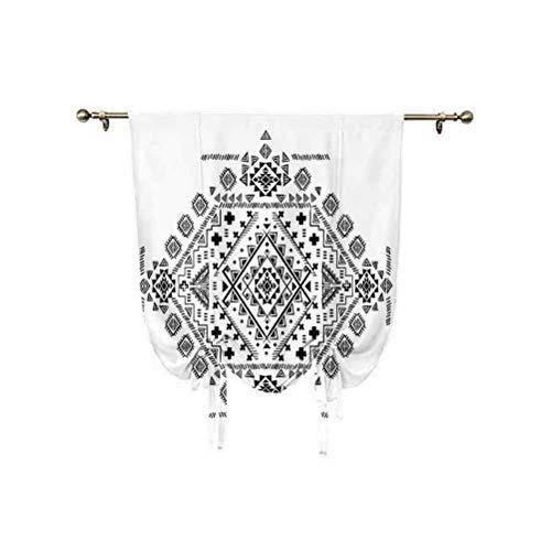 Cortinas mexicanas para ventana, diseño de triángulos y líneas geométricas prehistóricas, con aislamiento térmico de globo, 45 x 63 pulgadas, para ventanas pequeñas/cocina, color negro y blanco
