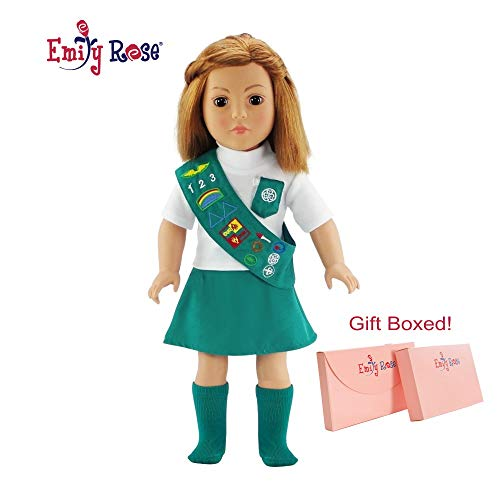 Emily Rose 18 Inch Doll Jr Junior Girl Scout Outfit for American Girl Doll Clothes | Dolls Clothes for American Girl Doll Clothes for Our Generation | Gift-Boxed!