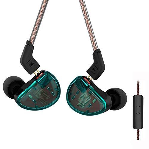 KZ AS10 Pure 5 equilibrado Armadure 5BA Auricular, músico en el oído Monitor Auriculares de Alta fidelidad HiFi (Verde con Mic)