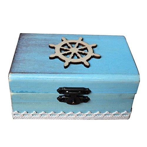 ounona náutico timón anillo caja rectangular de madera, compromiso, boda anillo portador...