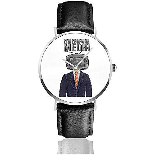 Propaganda Media TV Mann Pixel Art Uhren Quarz Lederuhr mit schwarzem Lederband für Sammlung Geschenk
