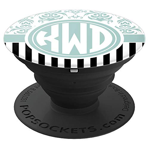 KWD Monogram Gift Blue Damask Initials KWD or KDW PopSockets Grip and Stand for Phones and Tablets