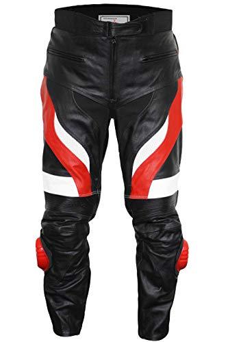 German Wear, Motorradhose Motorrad Biker Racing Lederhose Schwarz/Rot, Größe:58