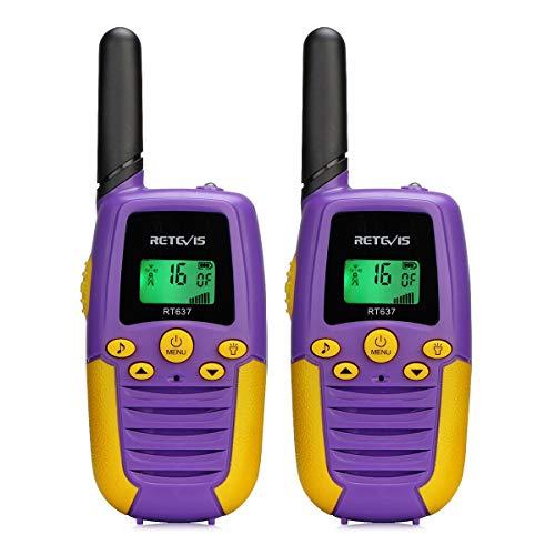 Retevis RT637 Walkie Talkies für Kinder, Spielzeug ab 6-12 Jahre,16 Kanäle,mit VOX LCD Taschenlampe,Großer Reichweite und Wiederaufladbar für Camping,Wandern, Outdoor-Aktivitäten (Lila, 2er Pack)